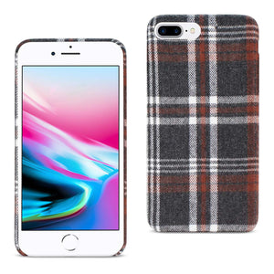 iPhone 8 Plus Plaid Fabric Case In Brown