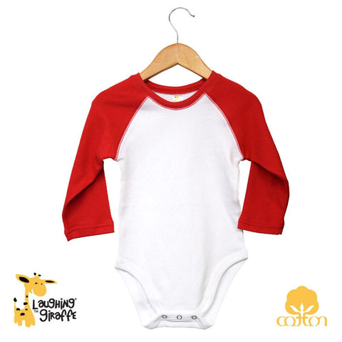 Baby Raglan Onesies Long Sleeves - Red
