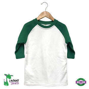 Toddler Raglan T-Shirt - White/Kelly Green