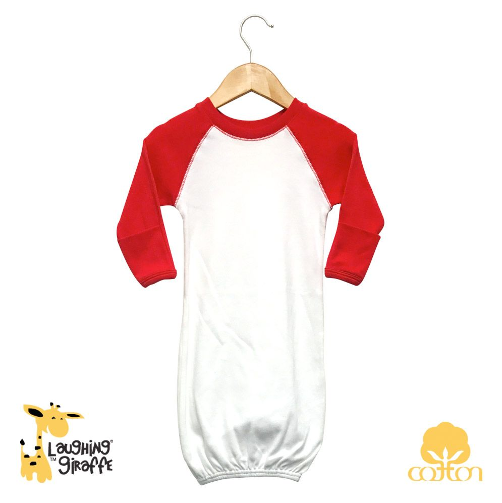 Raglan Gown w/ Mittens Red