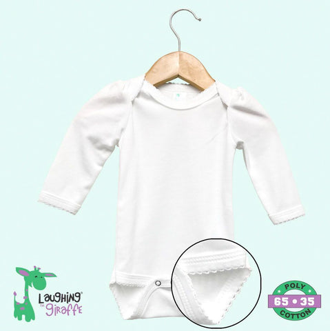 Baby Scallop Onesies L/S - White