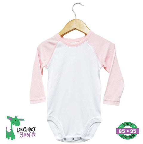 Baby Raglan Onesies Long Sleeves - Pink