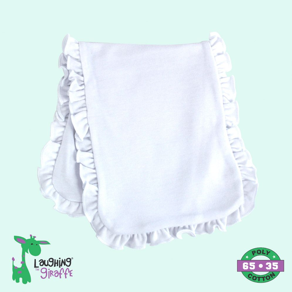 Baby Ruffle Burp Cloth - White