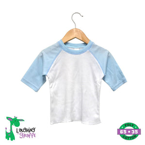 Baby Raglan Tees - White/Blue