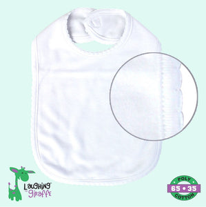 Baby Bib Scallop 2 Ply - White