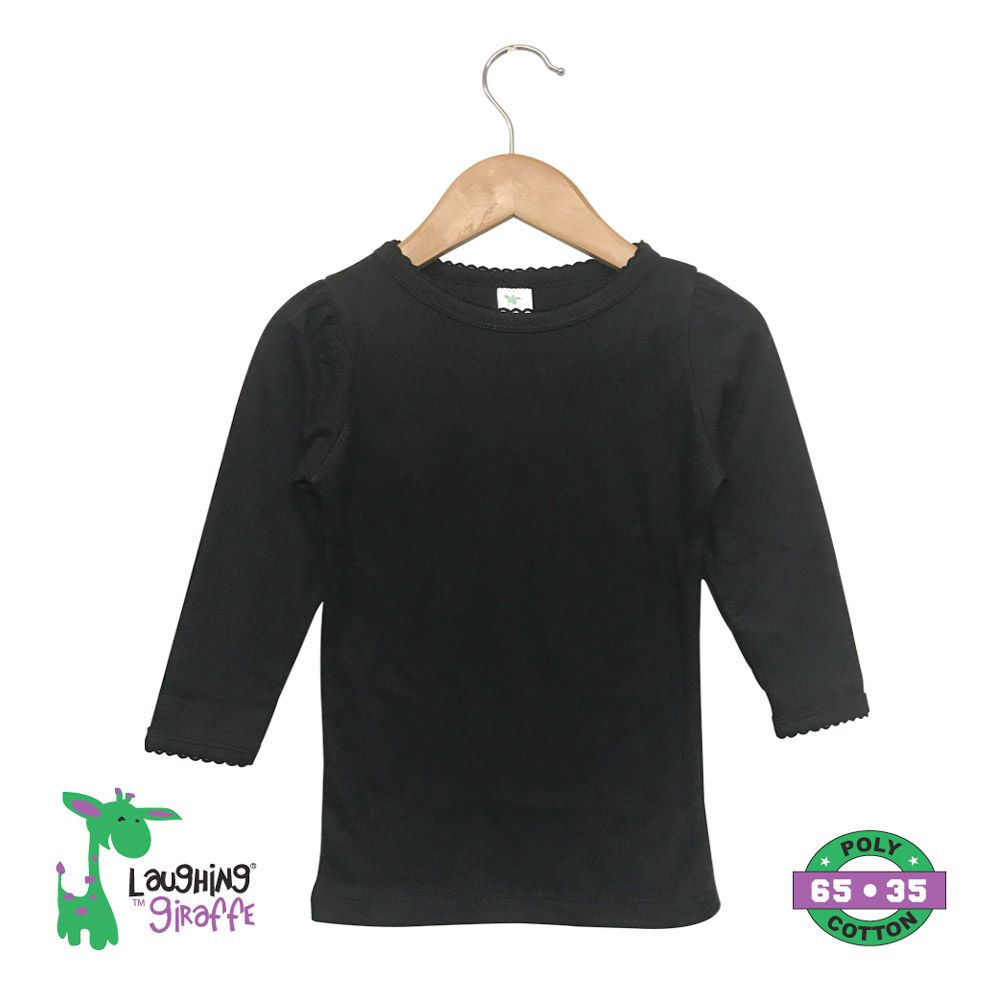 Toddler T Shirt Scallop Trim L/S - Black