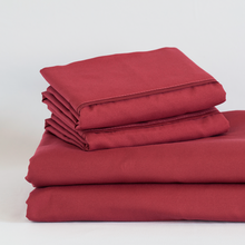 Load image into Gallery viewer, Deep Crimson Red Split King Sheet Set