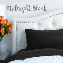 Load image into Gallery viewer, Midnight Black Split King Sheet Set