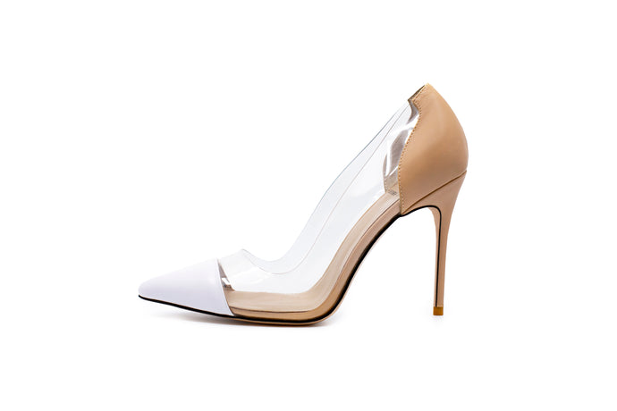 Lizzy Nude Leather Heels - Two Tone