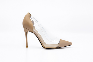 Lizzy Nude Leather Heels - Nude