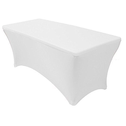 Adorox (4 ft White) Stretch Fabric Spandex Tight Fit Table Cloth Cover for Hoildays (4 ft