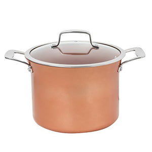 CONCORD 8.5 QT Copper Non Stick Stock Pot Casserole Coppe-Ramic Series Cookware (Induction