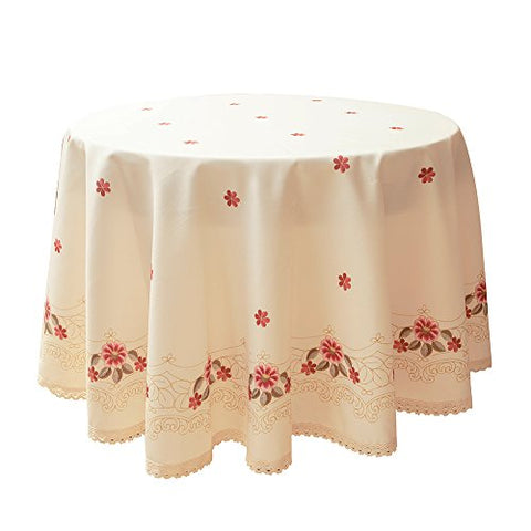 Decorative Red Floral Print Lace Water Resistant Tablecloth Wrinkle Free and Stain Resistant Fabric Tablecloths for Kitchen