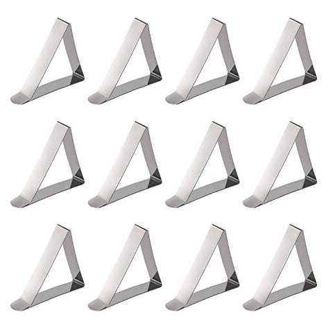 Yummy Sam Pack of 12/24PCS Adjustable & Hard Stainless Steel Metal Table covers Tablecloth Triangle Clip Clamps for Home Party Wedding Banquet Outdoor Picnic Camping