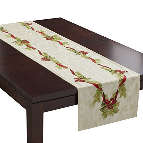 Benson Mills Christmas Ribbons Engineered Printed Tablecloth, 55-Percent Cotton 45-Percent