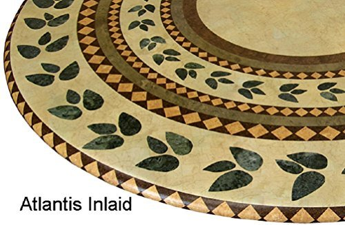 "Mosaic Table Cloth Round 36"" to 48"" Elastic Edge Fitted Vinyl Table Cover Inlaid Atlantis Pattern Brown Tan"