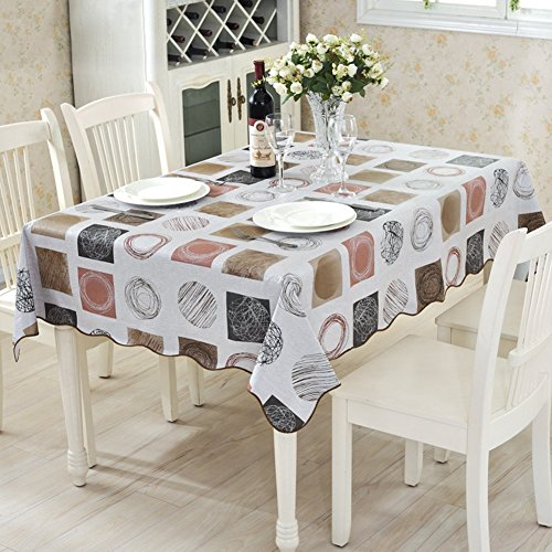 ColorBird Modern Scrawl Circles Flannel Backed PVC Tablecloth Easy Care Oilproof Table Cover for Kitchen Dinning Tabletop