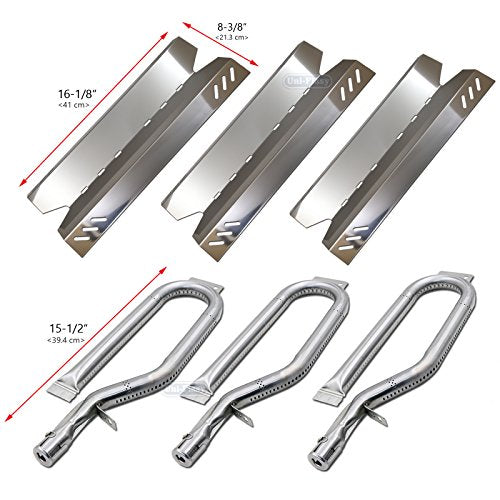 Uniflasy 3-Pack Gas Grill Repair Replacement Kit Stainless Steel Burners &  Heat Plate Parts for Members Mark BQ05046-6, BBQ Pro, Sam's Club, Outdoor