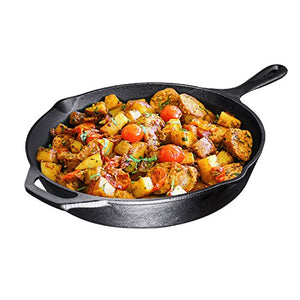 Pre-Seasoned Cast Iron Skillet, 12 inch, By Bruntmor - Use To Fry, Sear, Saute, Bake, And More - Indoor/Outdoor