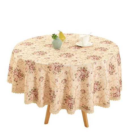Vintage Flower Decorative Rectangle Tablecloth by HIGHFLY - Printed Pattern Washable Table cloth Dinner Kichen Home Decor - Assorted Colors &