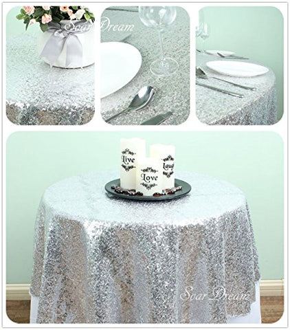SoarDream Sequin Table Cloth, Sequin Table Runner, Sequin Tablecloth, Silver. (12""
