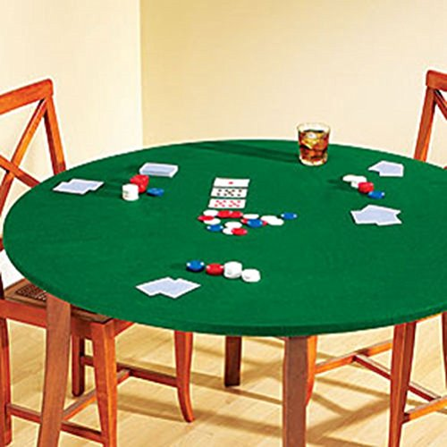 "Fitted Round Elastic Edge Solid Green Felt Table Cover for Poker Puzzles Board Games Fits 36"" to 48"" Also Fits 36"""