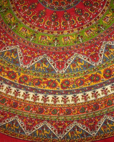 Indian Mandala Print Round Cotton Tablecloth 76""