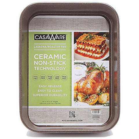casaWare Ceramic Coated NonStick Lasagna/Roaster Pan 13 x 10 x