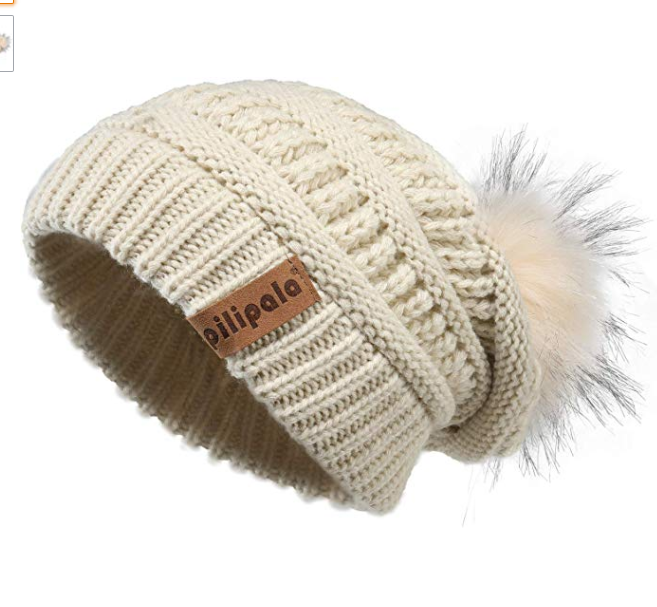 Pilipala Womens Winter Knit Beanie Hat Slouchy Warm Pom Pom Hat Faux Fur Caps for Women Ladies Girls