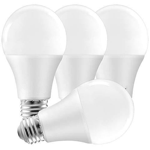 QUALILUX A19 LED Light Bulbs 100 Watt Equivalent Dimmable, 5000K Bright White, 1600 Lumens, Enclosed Fixture Rated, Standard LED Bulbs 15W, Energy Star, E26 Medium Base - Indoor and Outdoor (4 Pack)