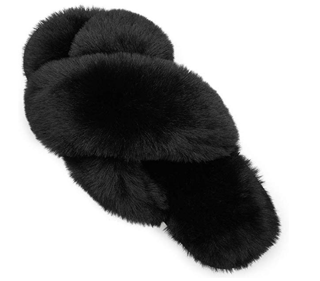 Women Fluffy Soft Plush Faux Bunny Fur Memory Foam Lightweight Warm House Slippers Open Toe Cute Flat Outdoor/Indoor Slip on Anti-Slip Slippers Multiple Styles and Sizes