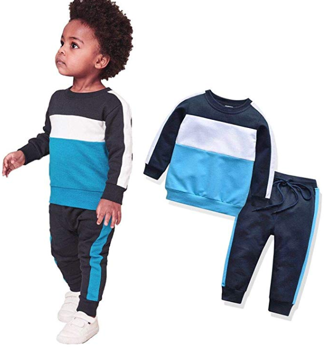 Toddler Boy Sports Clothes Outfit Cotton Sweatshirt and Joggers Pant Clothing Set for 1-6 Years