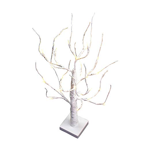 peiduo Lighted White Birch Tree Decorations with Snow Ornaments 24 Lights Battery Powered Timer Warm White LED for Home Decor, 2FT Tabletop Tree