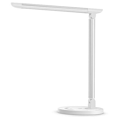 Bobmeton LED Desk Lamp, Eye-caring Table Lamps, Dimmable Office Lamp with USB Charging Port, 5 Lighting Modes with 7 Brightness Levels, Touch Control, White, 12W, Philips EnabLED Licensing Program