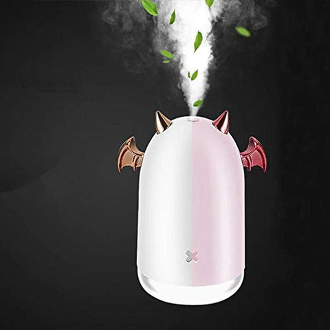 MCBON 230ml Ultrasonic Air Humidifier Little Devil USB Aroma Essential Oil Diffuser For Home Car Mist Maker Fogger Color LED Lamp Pink