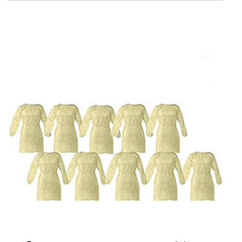 Cleaing 10 Pack Yellow Polypropylene Isolation Gowns for Medical Procedures, Disposable Contact Precautions Gowns for Health-Care Workers & Patients, Elastic Cuffs, Back Ties, Latex Free, One Size