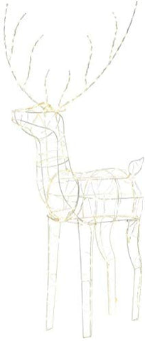 peiduo 48'' White Standing Deer with 250 Warm White LED Lights for Christmas Outdoor Decor