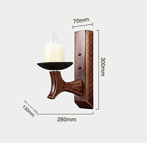 LOVESUN Wall Light Bright Antique Style Wall Candlestick Wall Lamp Antique Candle Wall Lamp Bamboo Lamp Body Suitable for Office Living Room Brown Wall Wash Lights