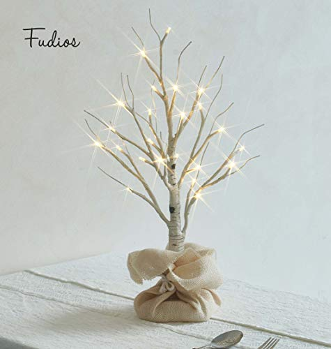 Fudios Lighted Small Tabletop Birch Tree Battery Operated with Timer 18in 24 Warm White LED Artificial Bonsai Tree Lights for Wedding Party Christmas Bookshelf Decoration Indoor Use