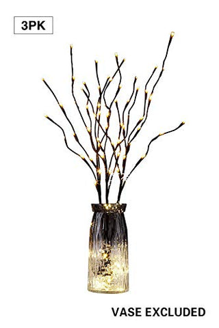 peiduo Lighted Pussy Willow Branch 30Inch 3PK 60L LED Artificial Twig Lights for Christmas Home Decoration Indoor Outdoor Apartment Decorative Lights(Vase not Included)