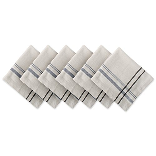 LABUPECO 100% Cotton French Tabletop Collection For Everyday Indoor/Outdoor Dining, Special Occasions or Dinner Parties, Machine Washable, Napkin Set, Taupe w/Black Stripes 6 Count