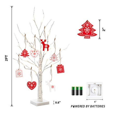 "peiduo 24"" 24LT Birch Tree Battery Powered Tabletop Wooden Pendant Decorative Light for Christmas Decoration, Wedding"
