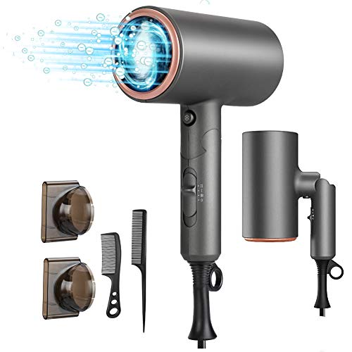 Hair Dryer, VACOOME Professional Salon Negative Ionic Hair Blow Dryer Fast Drying with 2 Heat Settings, 2 Speed & One Cool Settings, AC Motor with Concentrator Nozzles