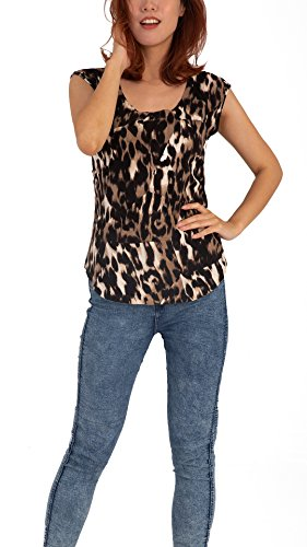 Women Round Neck Leopard Print Short Sleeve Knit Sweater Top Vest