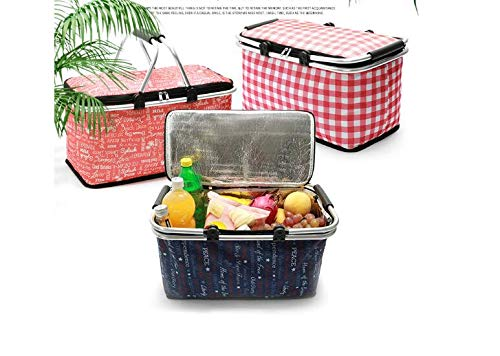 FOOEN Lightweight Insulated Folding Picnic Basket for Travel, Shopping and Camping