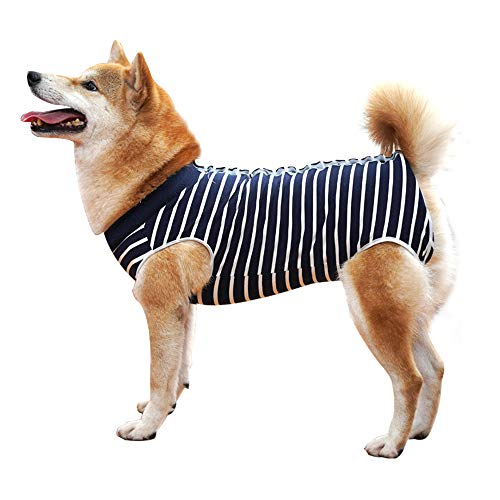 CHPPEY Dog Recovery Suit Abdominal Wound Protector Puppy Medical Surgical Clothes Post-Operative Vest Garments for pets After Surgery Wear Substitute E-Collar & Cone (XL, Blue Stripe)