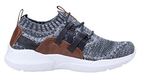BNOP kids Boy's Breathable Sneakers Casual Sport Shoes (2 Little Kid,Grey Brown)