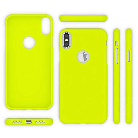 Caious Case Compatible with iPhone Xs Max, Ultra-Thin Luminous Neon Back-Cover Silicone Protector Rubber Soft Skin, Flexible Protective Shockproof Slim-Fit Bumper Smart-Phone Back-Case, Color:Yellow