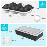 BETMONE Ice boxes Cube Tray Silicone with Lids, 2 Pack Large 6 Ice Ball Mold + 8 Square Ice Cube Mold for Whiskey, Cocktails & Brandy, Food Grade Ice Tray Freezer BPA Free Keep Drinks Chilled