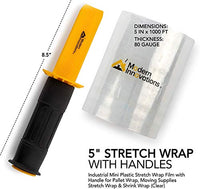Mini Stretch Wrap Film with Handle (2 Pack) 5 Inch Plastic Stretch Film with Rotating Handles for Pallet Wrap - Stretch Wrap for Moving Supplies - 5 Inch x 1000 Feet, 80 Gauge